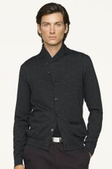 Black Label Cotton Shawl-collar Cardigan - Lyst