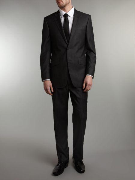 Simon Carter Herringbone Suit in Black for Men (Charcoal ...