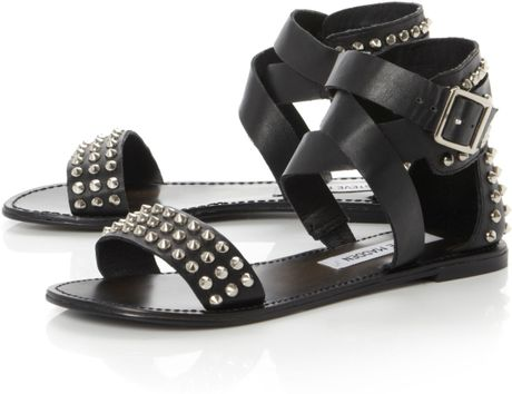 Steve Madden Buddies Studded Gladiator Flat Sandals In