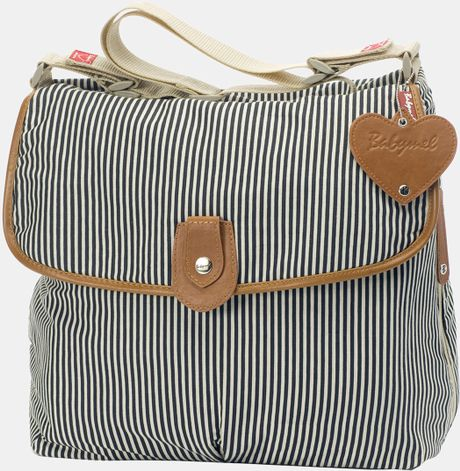 Storksak Babymel Satchel Diaper Bag in White (Navy Stripe) - Lyst
