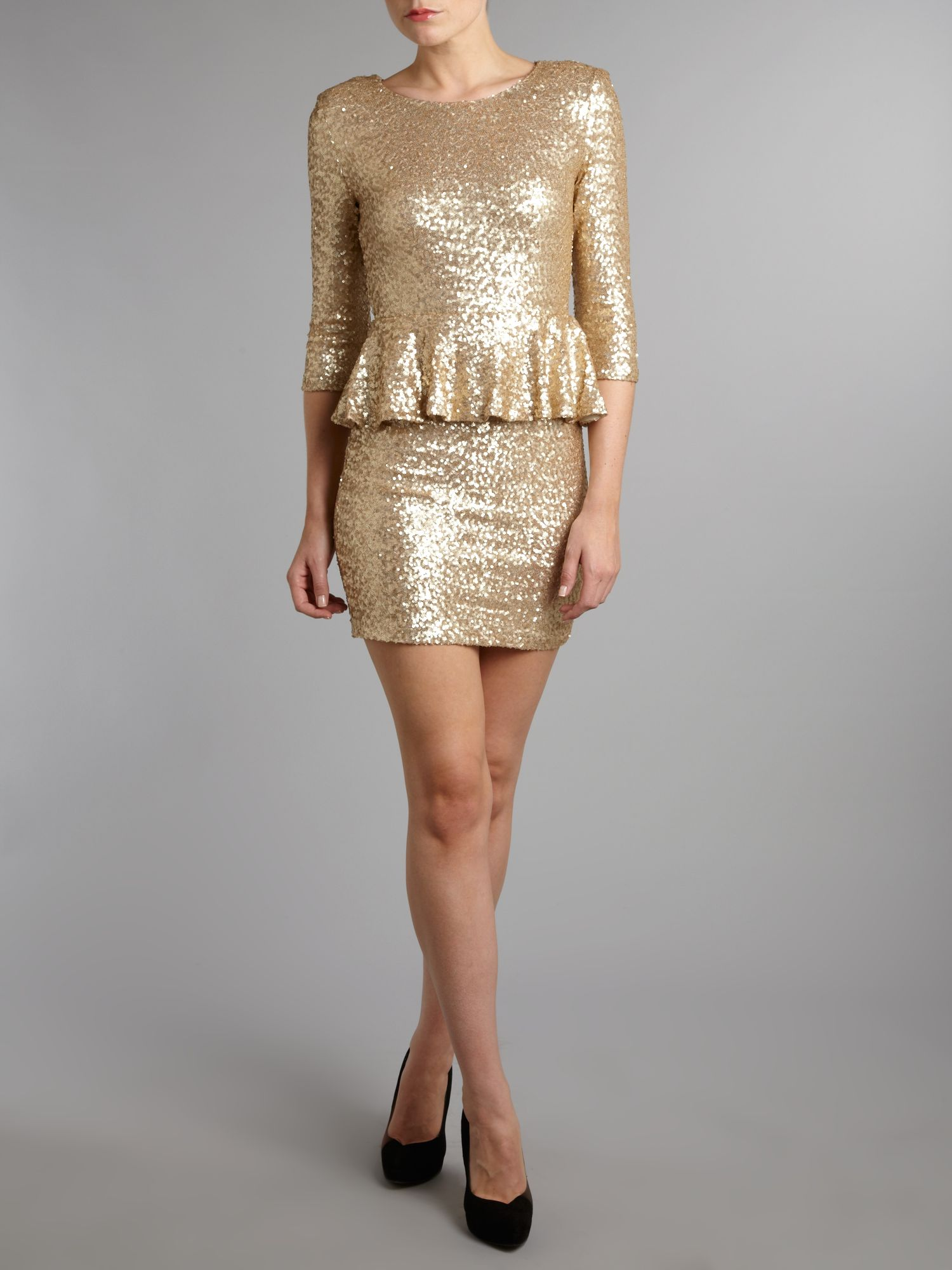 Tfnc gold sequin dress with long sleeves