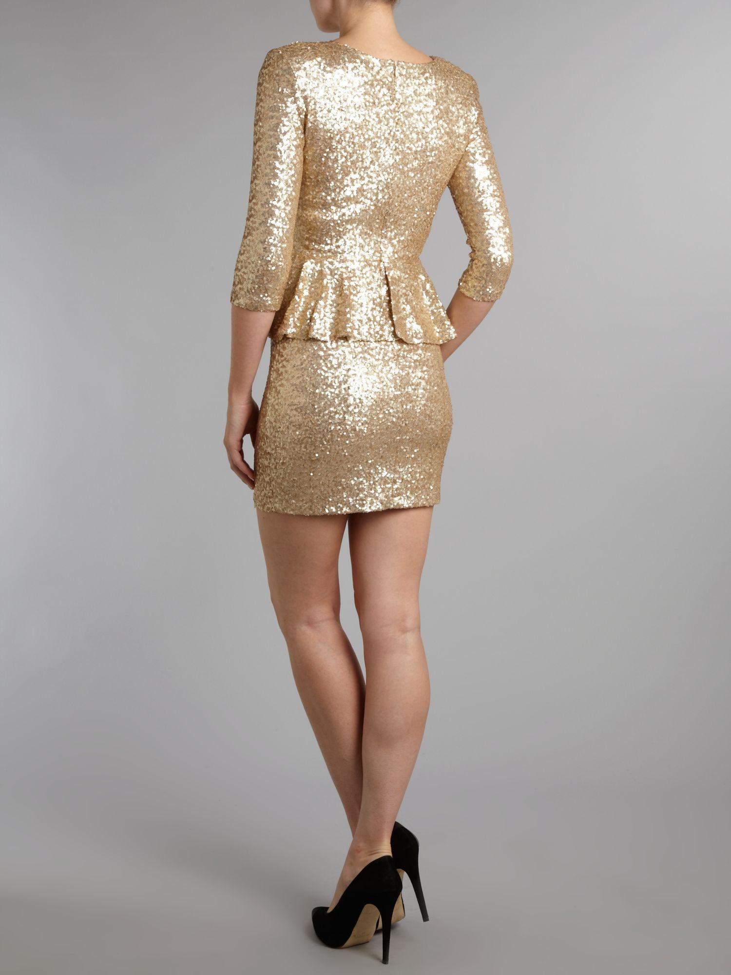 Tfnc long sleeve peplum sequin dress