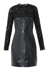 Valentino Lace and Leather Fitted Dress - Lyst