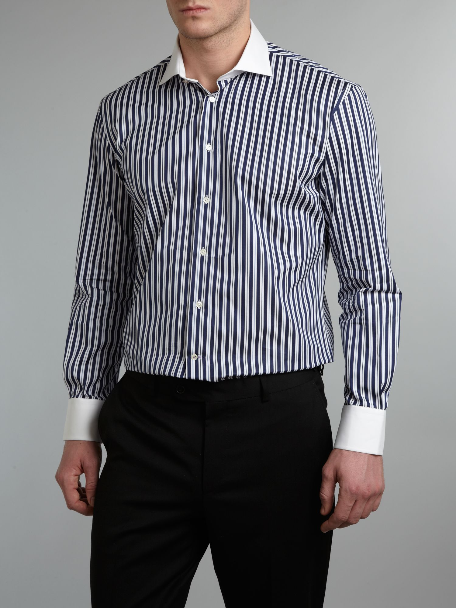 Without prejudice sh stripe shirt white collar in black for Blue and white striped shirt with white collar