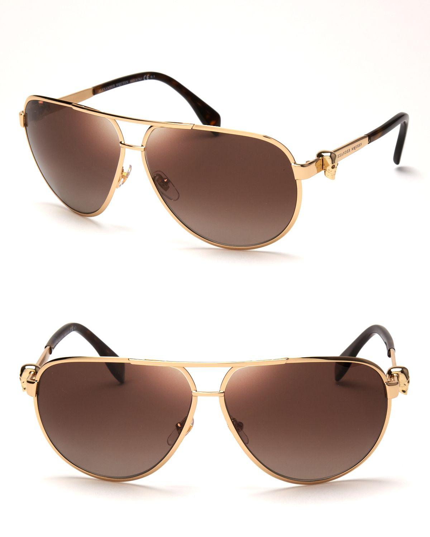 5984c8ba3cf09 Alexander McQueen Skull Temple Aviator Sunglasses in Metallic - Lyst