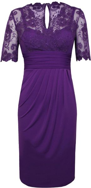 Alexon Lace Top Dress In Purple Dark Purple Lyst