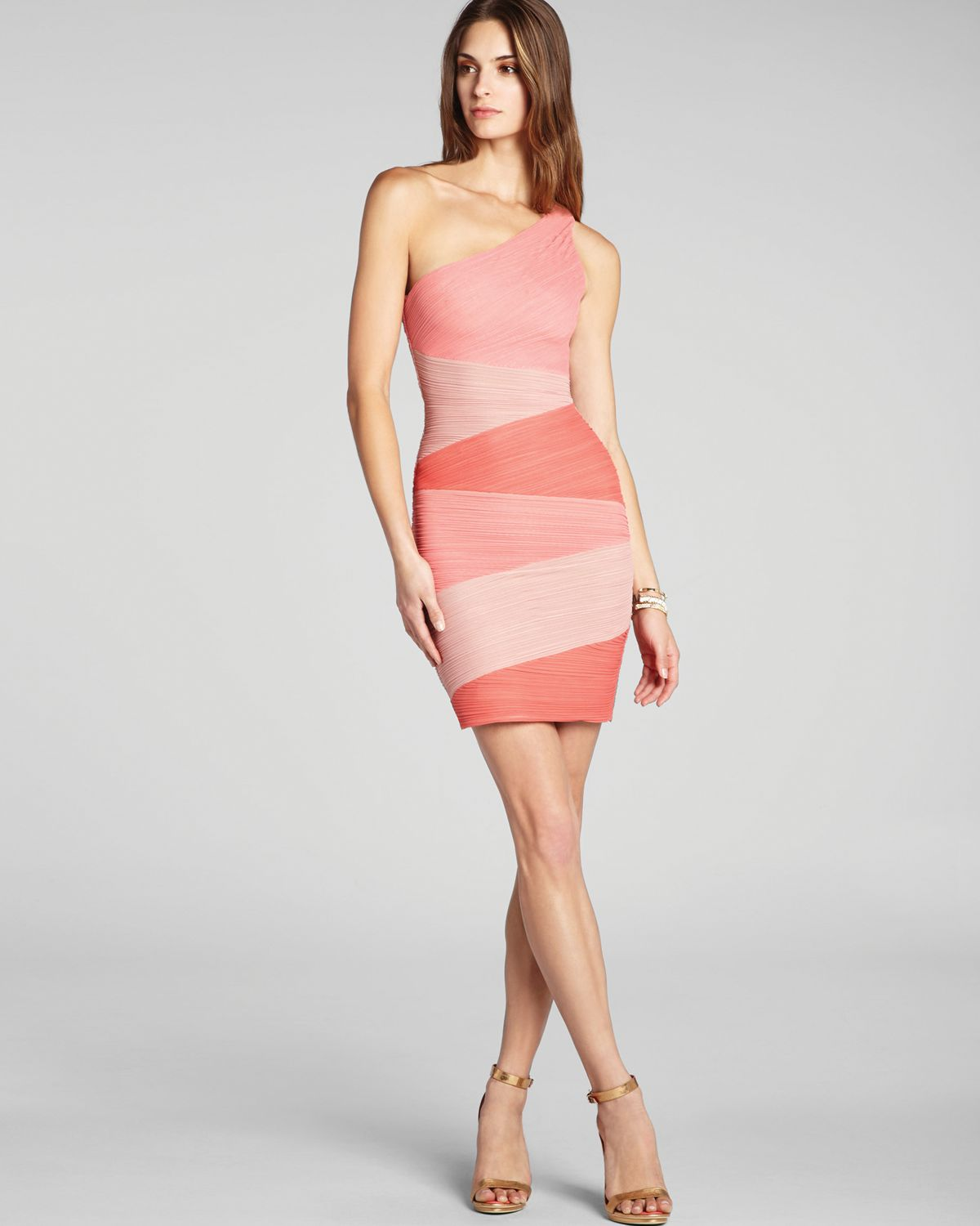 Bcbgmaxazria One Shoulder Ruched Color Block Dress In Pink