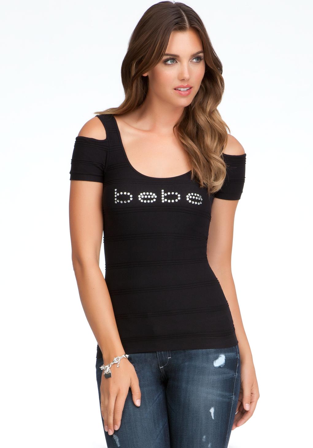 lyst bebe logo cold shoulder top in black. Black Bedroom Furniture Sets. Home Design Ideas