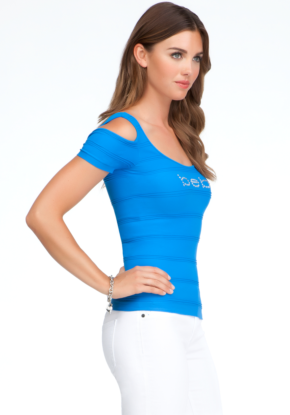e42c3ffb6927fb Lyst - Bebe Logo Cold Shoulder Top in Blue