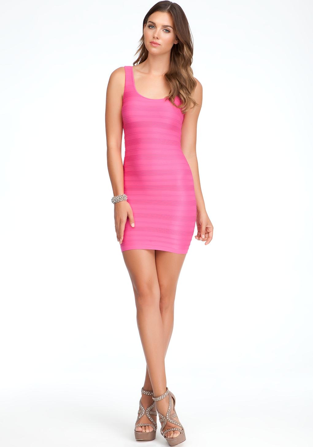 Bebe Haley Shine Bodycon Dress in Pink