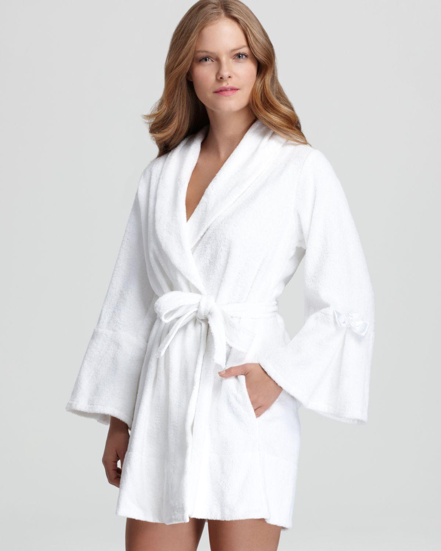 lyst betsey johnson loop terry bridal robe in gray