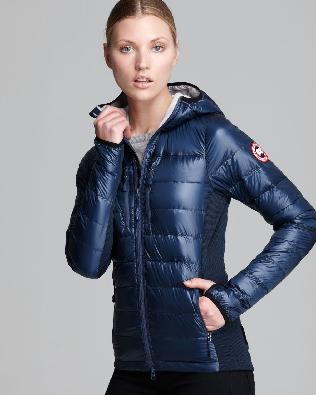 Canada goose Hybridge Light Hooded Jacket in Blue | Lyst