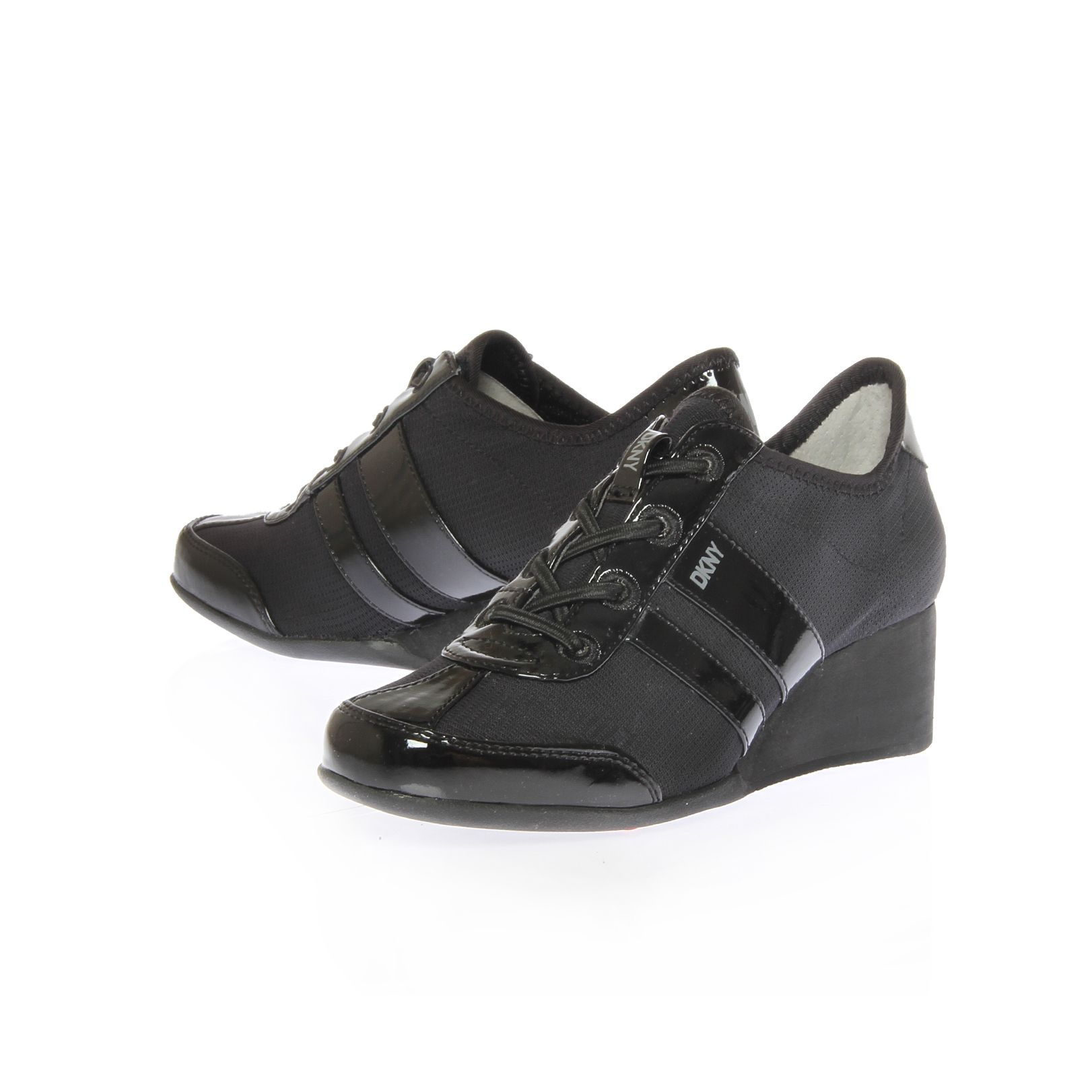 dkny raina lace up wedge trainer shoes in black