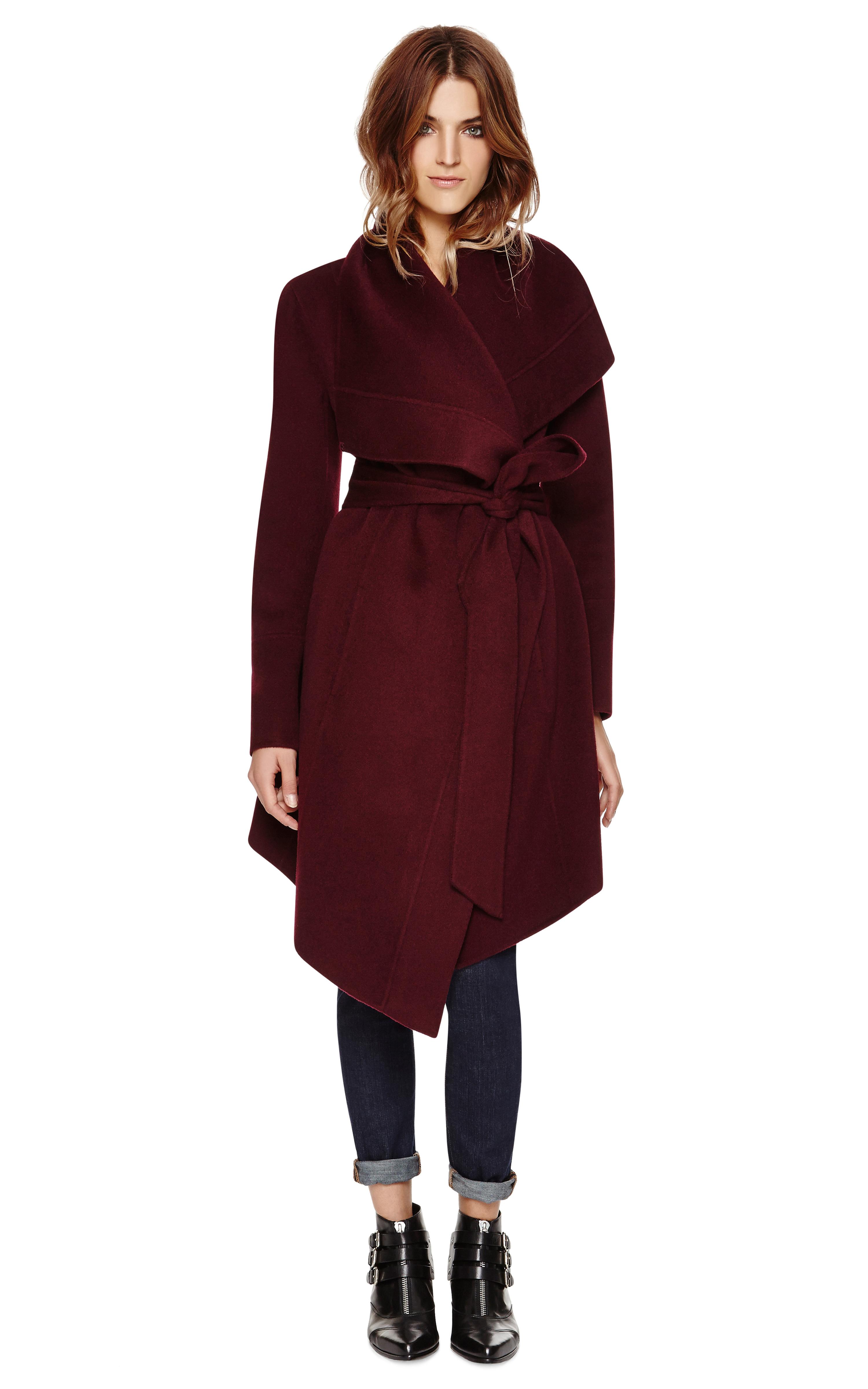 Donna karan Draped Lapel Coat in Purple | Lyst