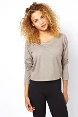 Earth Couture Cropped Top with Back Slit Detail and Velvet Trim in Organic Cotton - Lyst