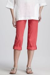 Eileen Fisher Cuffed Twill Capri Pants - Lyst