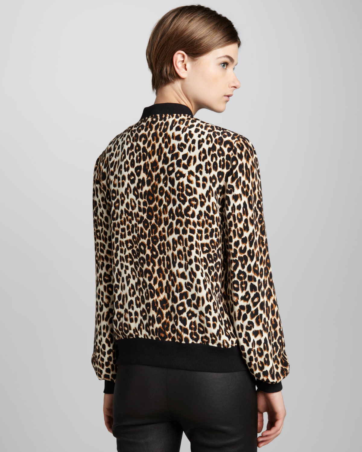 Equipment Abbot Leopardprint Bomber Jacket | Lyst