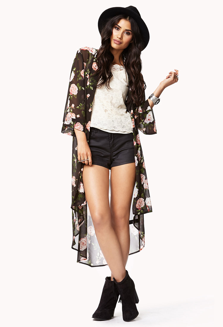 Forever 21 Cabbage Rose Print Chiffon Cardigan | Lyst