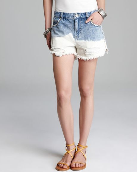 Free people shorts ripped denim floral embroidered cut