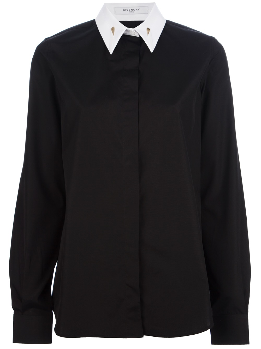 Givenchy Contrast Collar Shirt in Black | Lyst