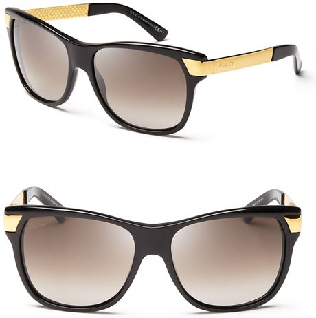 Oversized Gold Frame Sunglasses : Gucci Oversized Gold Temple Wayfarer Sunglasses in Black ...