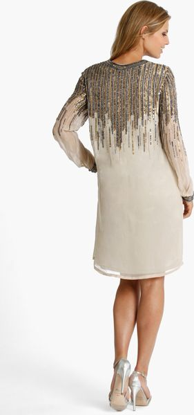 Js Collections Beaded Chiffon Shift Dress In Beige Taupe