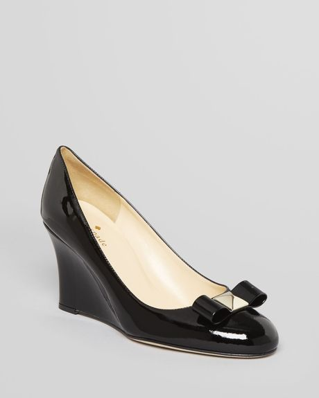 Kate spade wedge pumps mania bow in black lyst