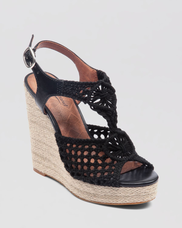 aebd0bcec00 Lucky Brand Wedge Platform Sandals Rilo Crochet in Black - Lyst