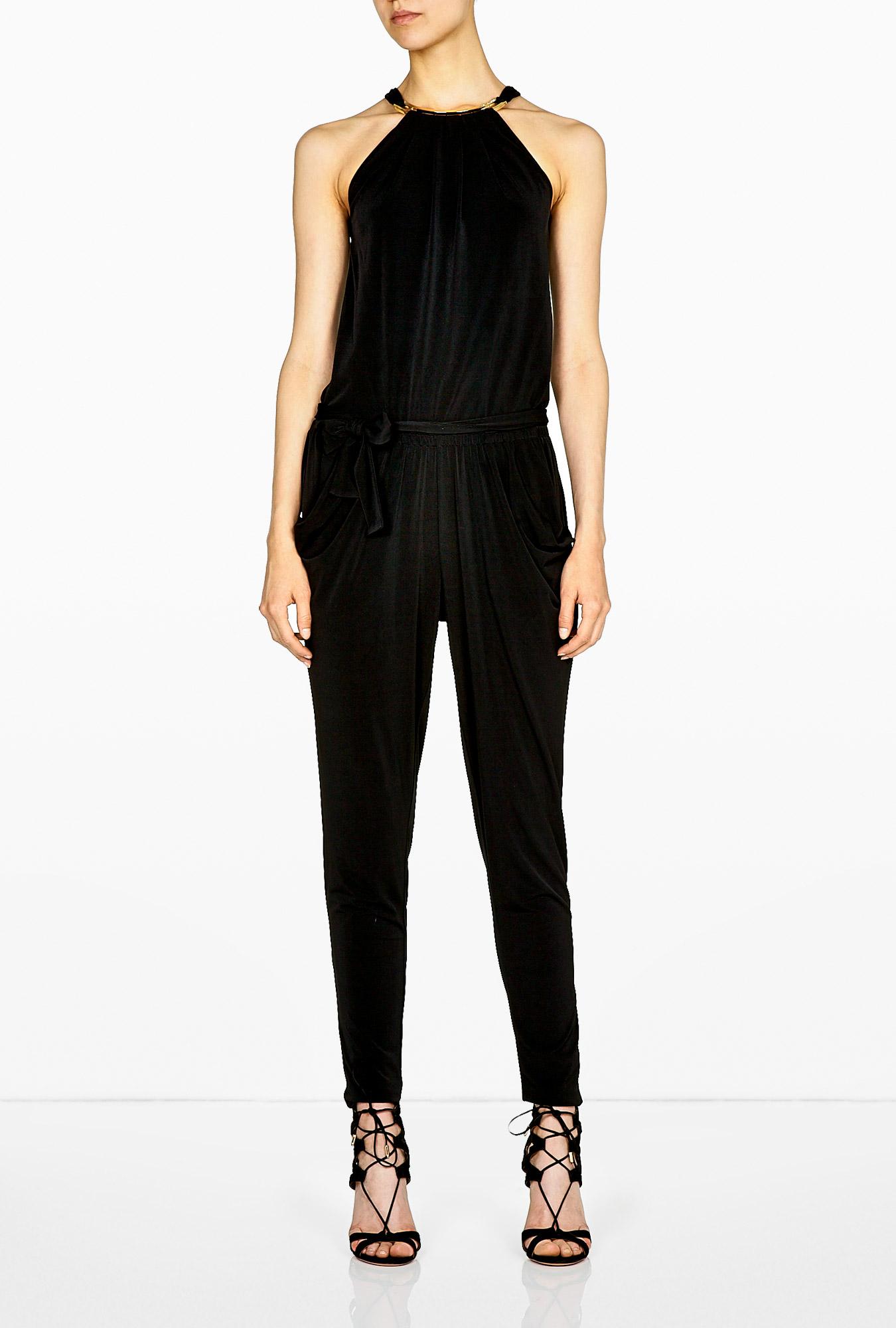 michael michael kors mj plate halterneck jumpsuit in black lyst. Black Bedroom Furniture Sets. Home Design Ideas