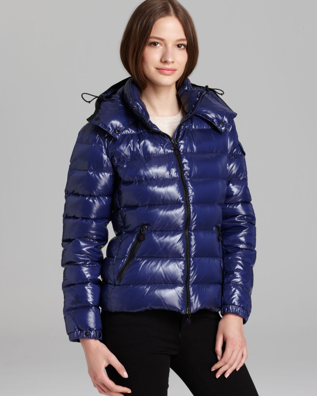 05aa93b82904 Lyst - Moncler Bady Lacquer Hooded Short Down Coat in Blue