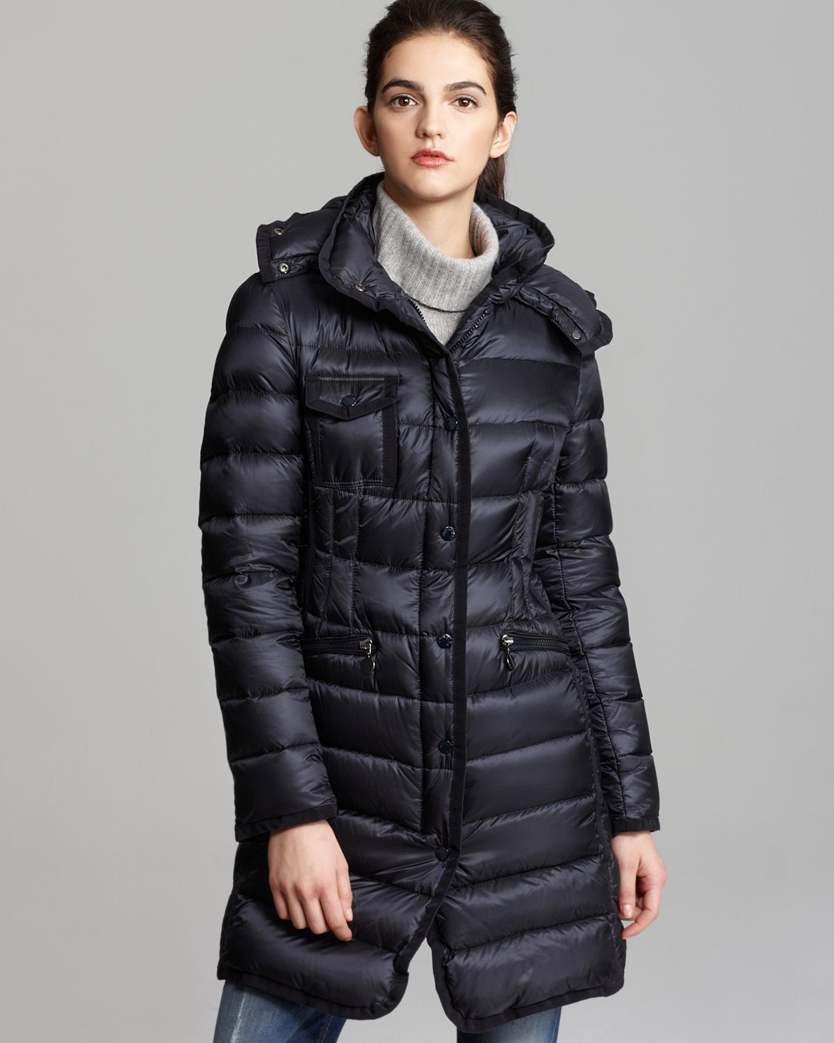42f0c7ca8e9 Moncler Hermine Collar Down Coat in Blue - Lyst