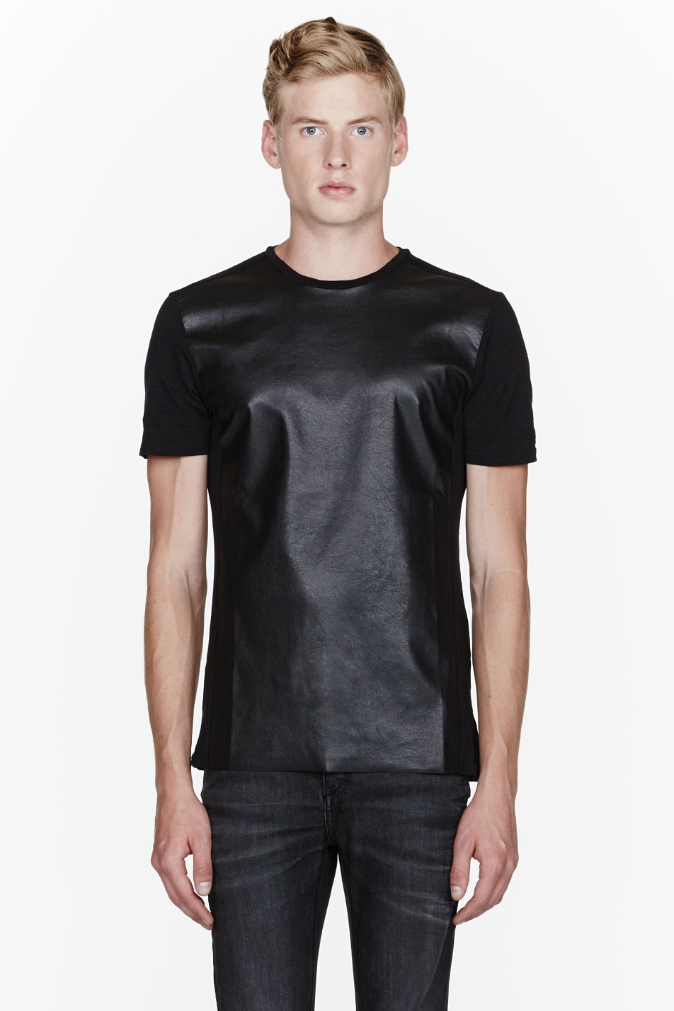Mens Leather Shirts Black