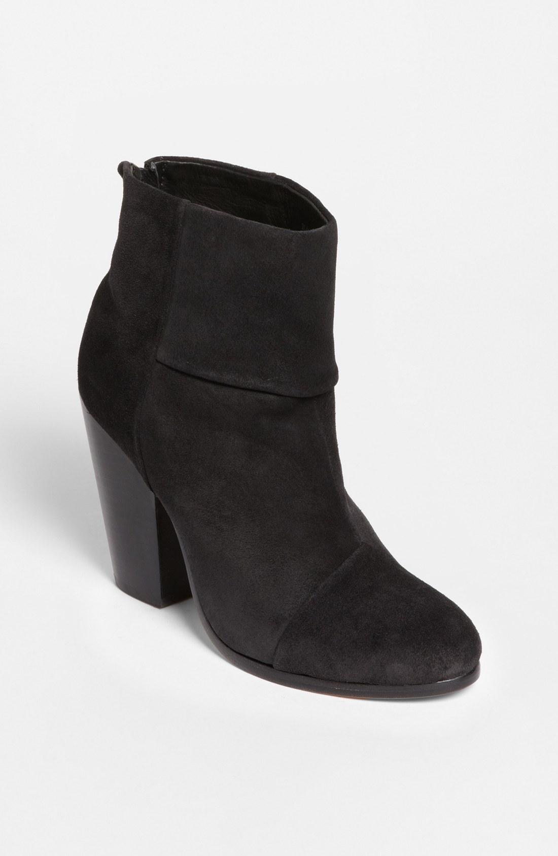 rag bone newbury bootie in black asphalt suede lyst