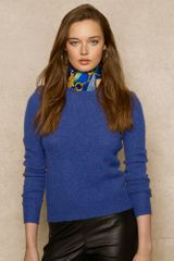 Ralph Lauren Blue Label Suedepatch Wool Sweater - Lyst