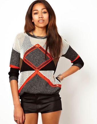 River Island Colour Blocked Jumper - Lyst