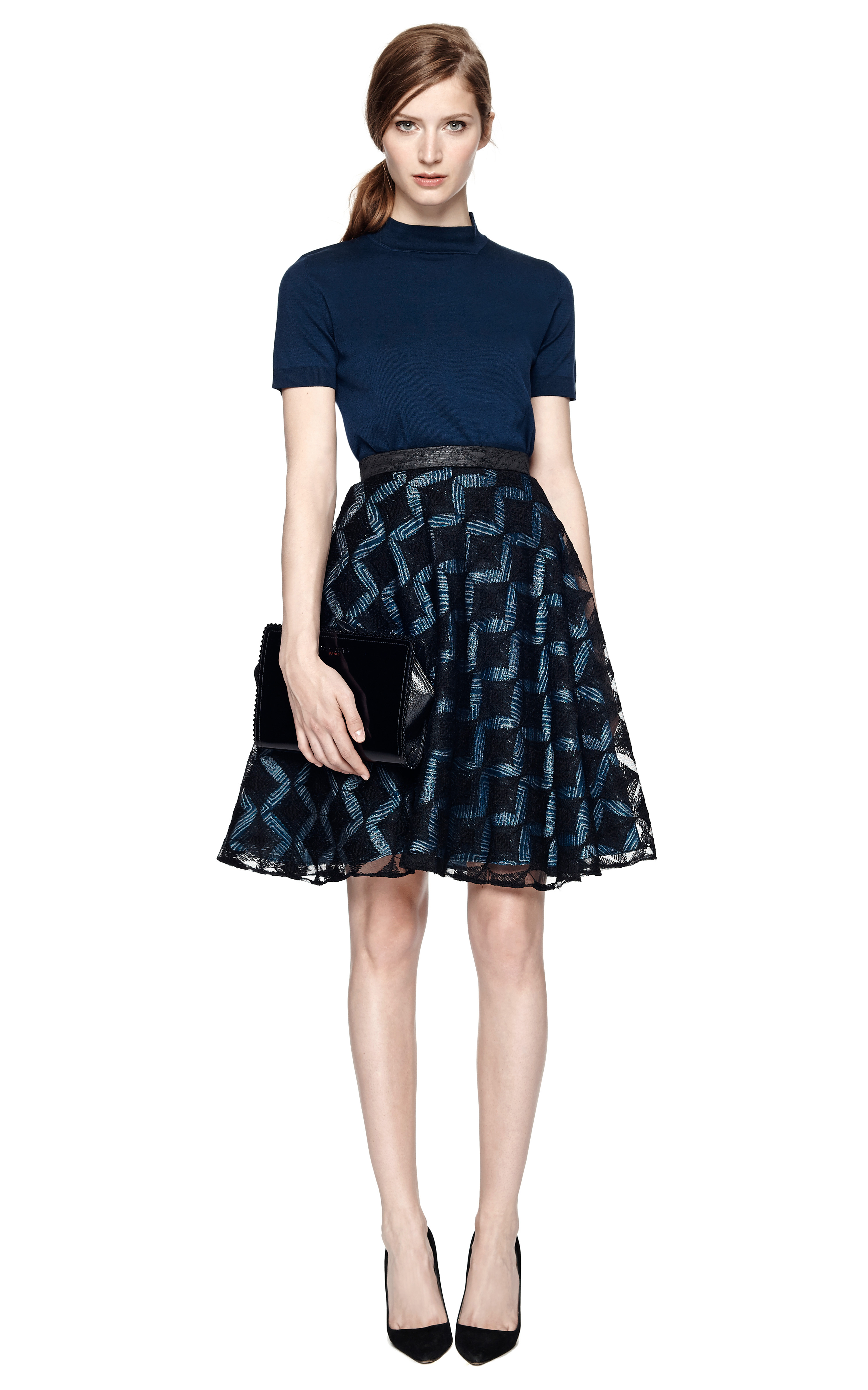 Her lined bodice is adorned with a metallic gold hued lace detail and leads to a navy blue hued multi-layered skirt. Her flair worthy A-line skirt features a pleated taffeta fabric that is accented with a voluminous petticoat. Dress is lined with a smooth knit fabric and offers a relaxed fit with minimal stretch.