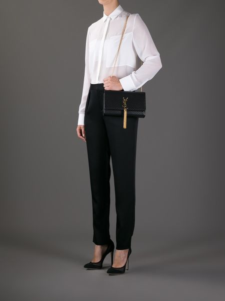 Saint Laurent Cassandre Patent Leather Tassel Shoulder Bag 45