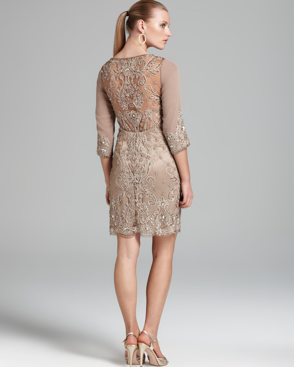 Sue wong dress three quarter sleeve illusion in natural lyst for Sue wong robes de mariage