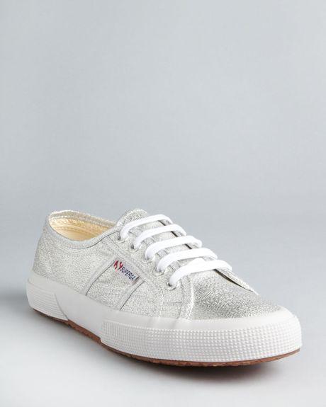 Superga Classic Lamé Sneakers in Silver