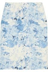 Tibi Printed Silk and Linen Blend Skirt - Lyst
