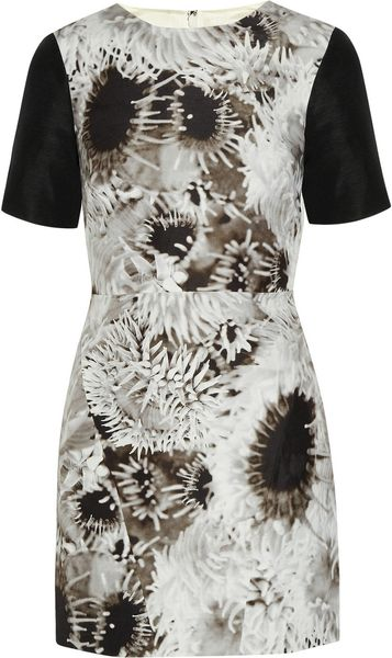 Tibi Athena Printed Silk Linen and Cottonblend Mini Dress in White - Lyst