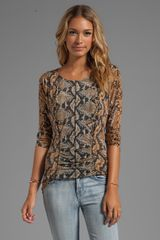 Tracy Reese Printed Jersey Matteslink Dolman T in Brown - Lyst