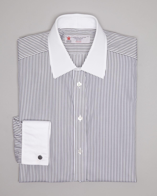 White collar cuff regular fit dress shirt in black for men white
