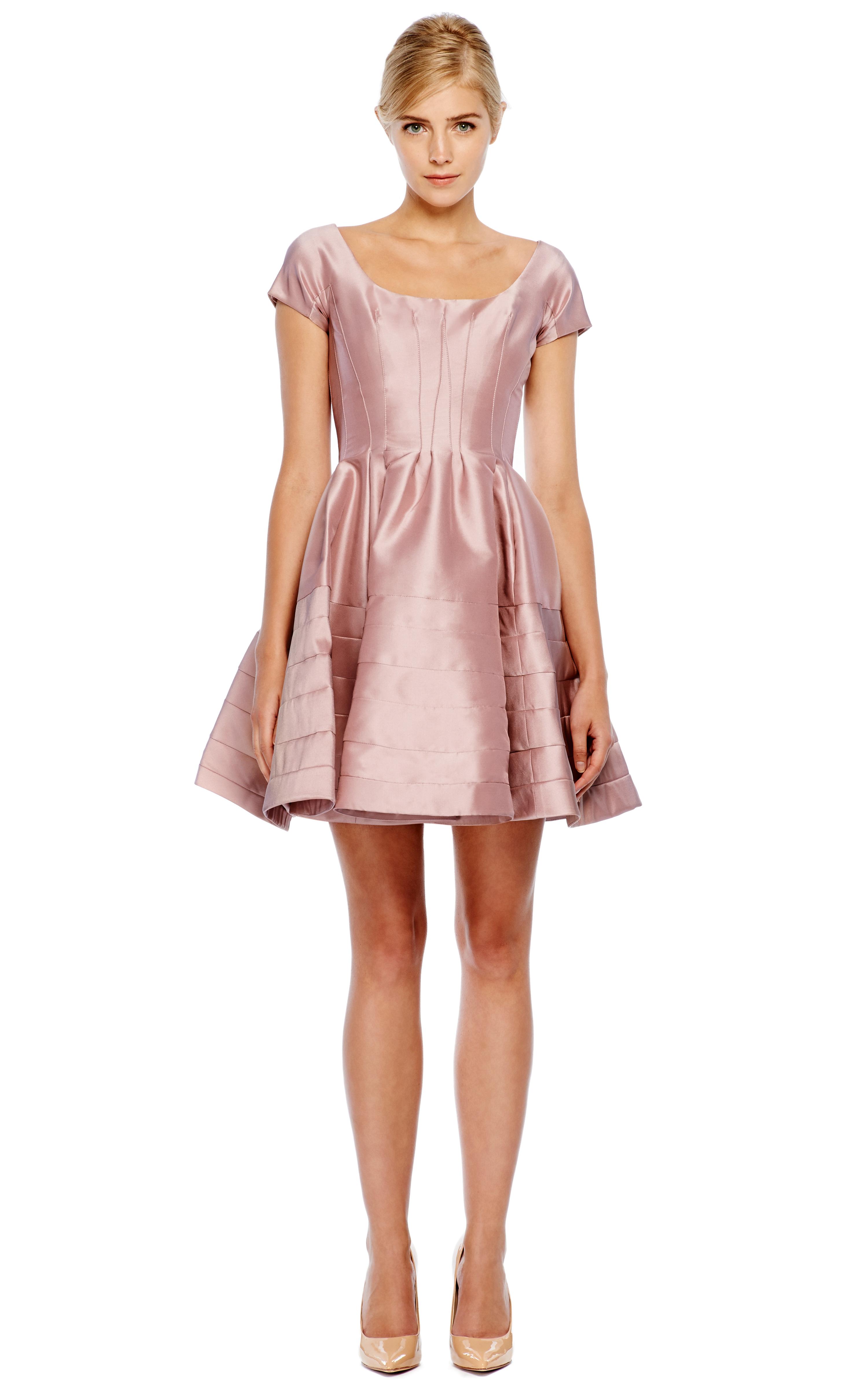 Zac Posen Silk Faille Cocktail Dress In Pink Lyst