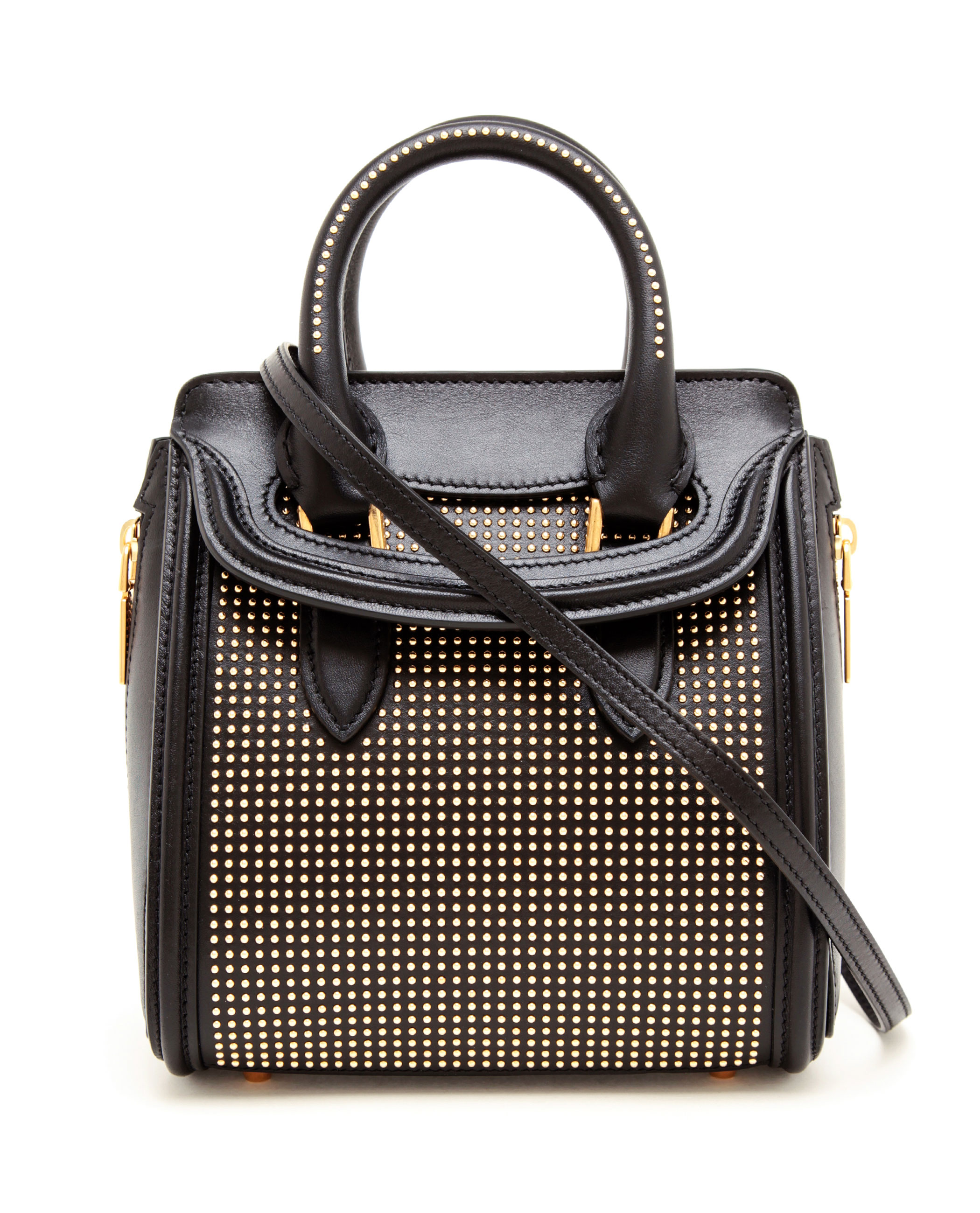 Alexander Mcqueen Mini Heroine Black Studded Leather Tote ...