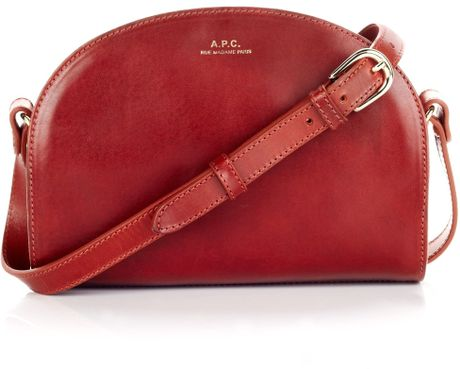 a p c brick leather half moon bag in red lyst. Black Bedroom Furniture Sets. Home Design Ideas