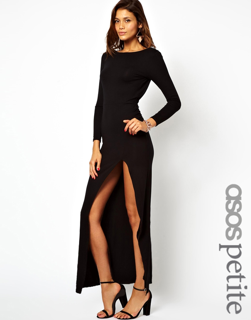 Black dress side split