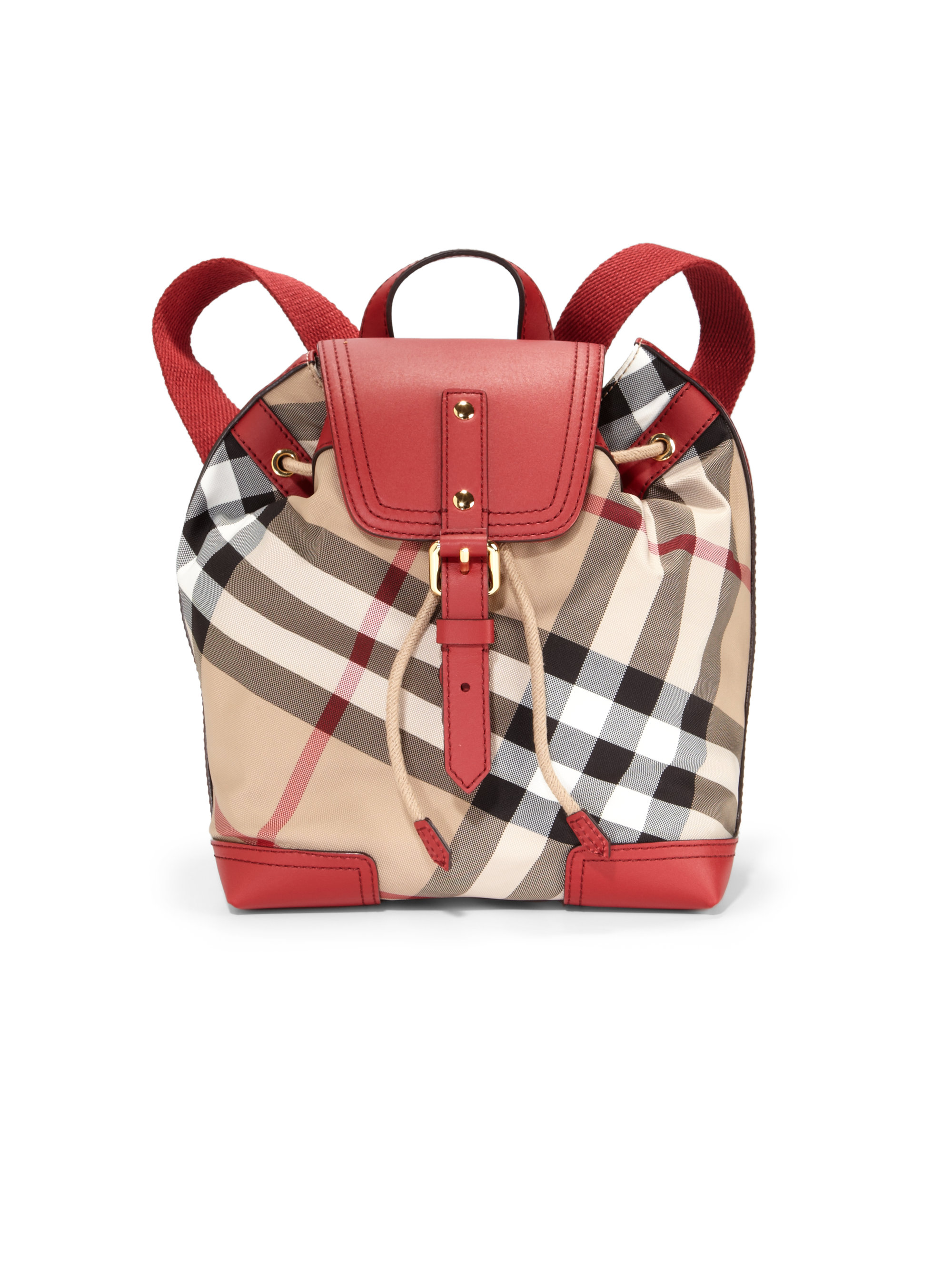 Lyst Burberry Kids Check Canvas Leather Backpack In Red