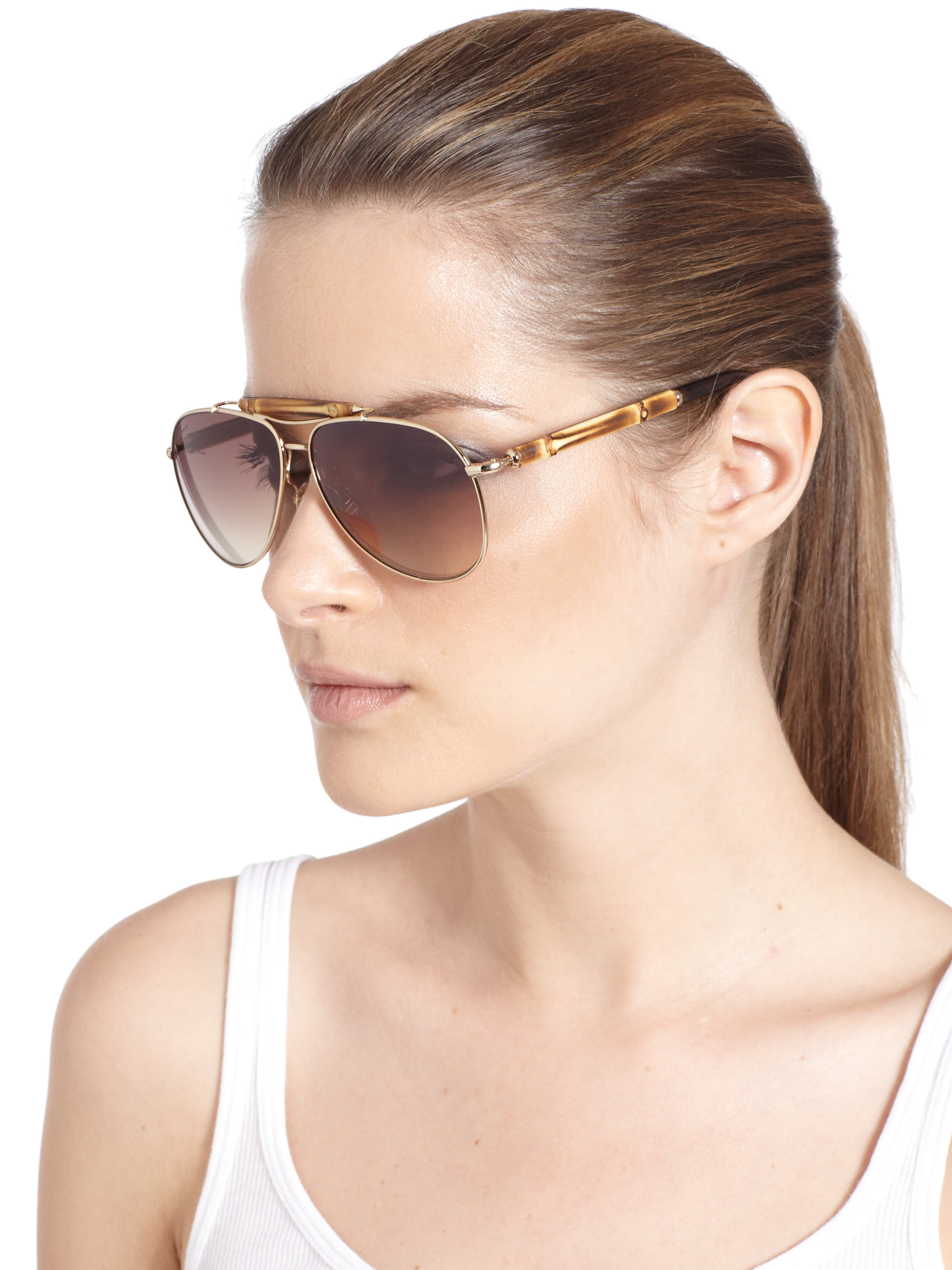 6a816e45221 Gucci Bamboo Aviator Sunglasses in Metallic - Lyst