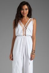 Indah Gypsy Deep V Cut Out Trim Jumpsuit in White - Lyst